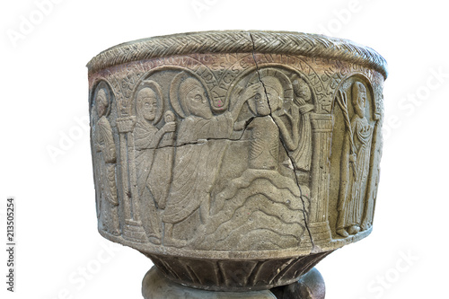 Slika na platnu The Baptism of Jesus in the river Jordan on an isolated Baptismal font