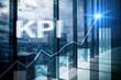 KPI - Key performance indicator graph on blurred background.