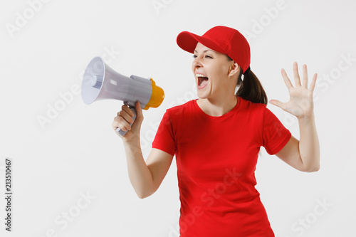 Delivery woman in red uniform isolated on white background Wallpaper Mural