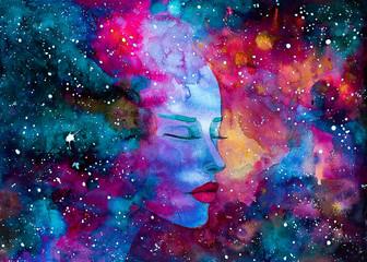 mgławica kosmos akwarela piękna kobieta