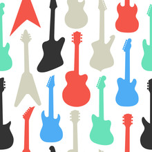 Pattern With Different Shapes And Colors Guitars