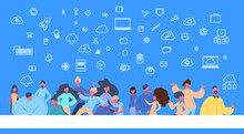People Group Standing Online Data Cloud Synchronization Social Network Icon Over Blue Background Flat Vector Illustration