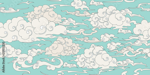 Foto op Canvas Kunstmatig Seamless cloud pattern