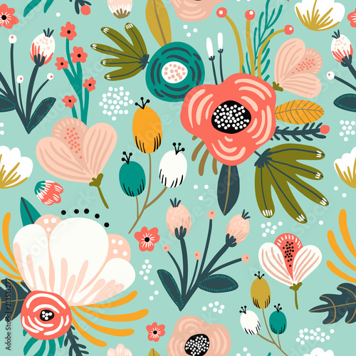Seamless pattern with flowers,palm branch, leaves Wallpaper Mural