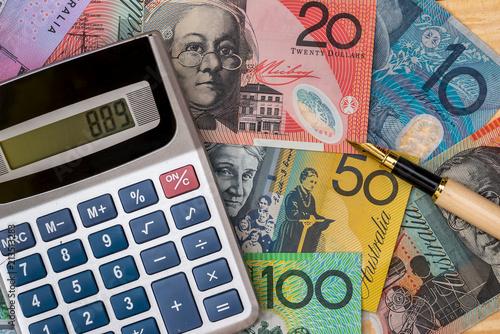 On Australian Dollar Has A Calculator And Pen