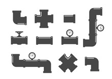 Valve, Taps, Pipe Connectors, Pipe Details. Pipe Fittings Vector Icons Set