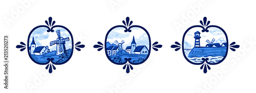 Dutch porcelain style design - blue painting of windmills and village in the Netherlands.
