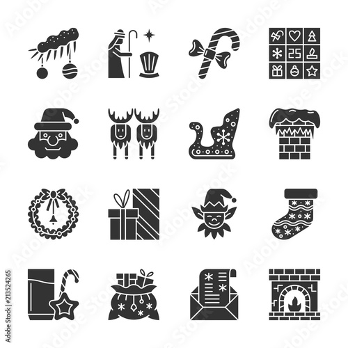 New Year Christmas Black Silhouette Icon Set Kaufen Sie Diese