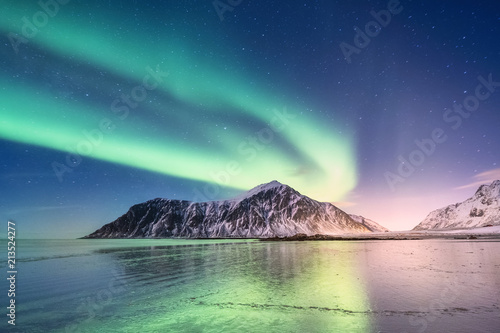 Foto auf Gartenposter Nordlicht Northen light above mountains and ocean shore. Beautiful natural landscape in the Norway