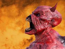 3D Rendering Of A Screaming Devil.