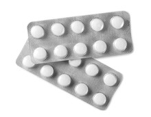 Tablets In Strip Isolated On White, Top View