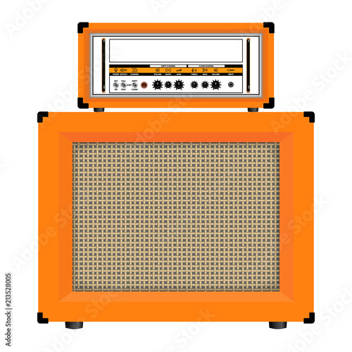 Realistic classic guitar amplifier with cabinet speaker, vector illustration Fotobehang