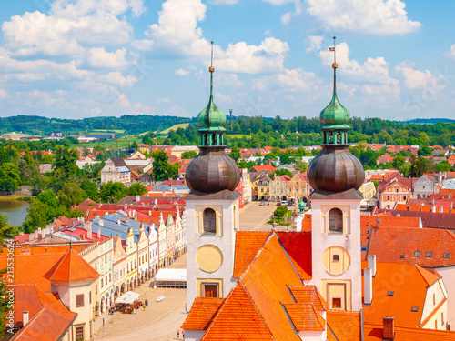 Papiers peints Con. ancienne Aerial view of Telc with main square and towers of church of the Holy Name of Jesus, Czech Republic. UNESCO World Heritage Site.