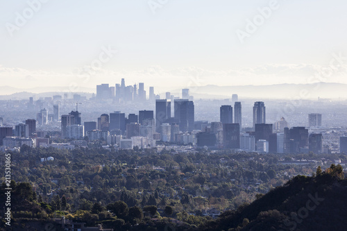 Poster Los Angeles Smoggy view towards Century City with downtown Los Angeles in the background.