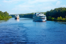 Landscape With  Cruise Passenger Ships On The Canal Of Moscow In A Summer Morning