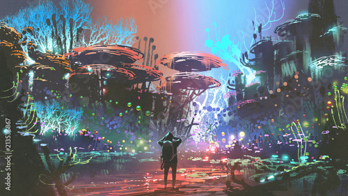 Poster Kaki fantasy scenery of the man looking at colorful coral forest, digital art style, illustration painting
