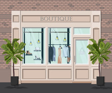 Graphic Vector Facade Vintage Boutique. Detailed Illustration Of A Clothes Shop In A Flat Style. Retail Storefront. European Modern Fashion Store House