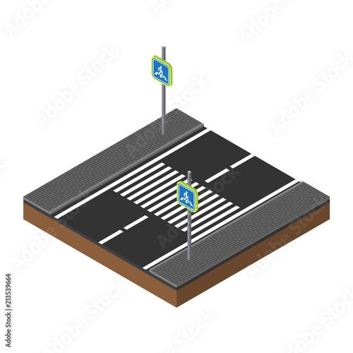 Fotografie, Tablou PrintIsometric traffic lights on crossroads illustration