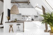 Modern Kitchen In Attic, Scandi-boho Style, 3d Render