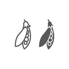 Pea Pod Line And Glyph Icon, V...