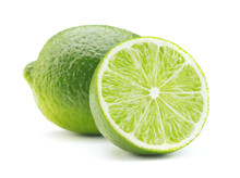 Ripe Green Lime Fruit Isolated On White Background