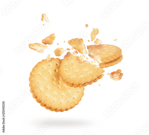 Biscuits crushed into pieces close-up isolated on a white background Canvas Print