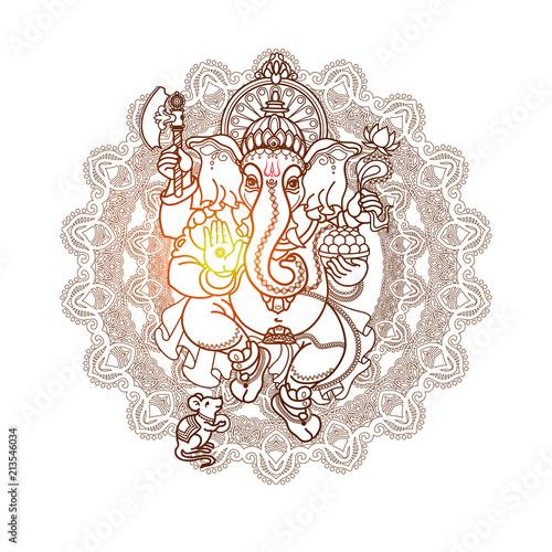Photo  Hindu God Ganesha. Hand drawn tribal style. Vector.