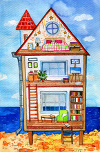 Inside View Of  Three-story House With Furniture And Decorations. Hand Drawn Cartoon Watercolor Illustration