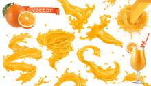Orange Paint Splash. Mango, Pineapple, Papaya Juice. 3d Realistic Vector Icon Set