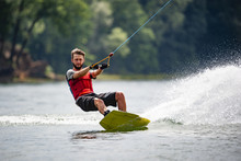 Wakeboarder Surfing Across A L...