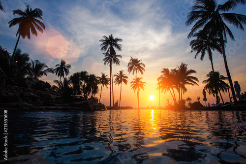 Amazing sunset on a tropical sea beach.
