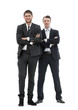 full growth.two business partners standing,isolated on white background.