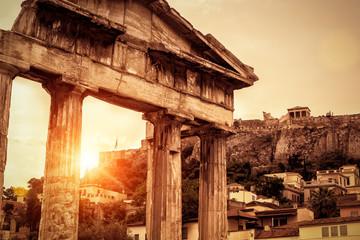 Panel Szklany Miasta Roman Agora at sunset in summer, Athens, Greece