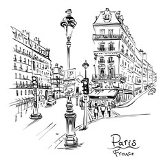Fototapeta Architektura Vector black and white hand drawing. Paris street with traditional houses and lanterns, Paris, France.
