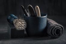 Unique Shave Tools With Brush, Razor, Soap