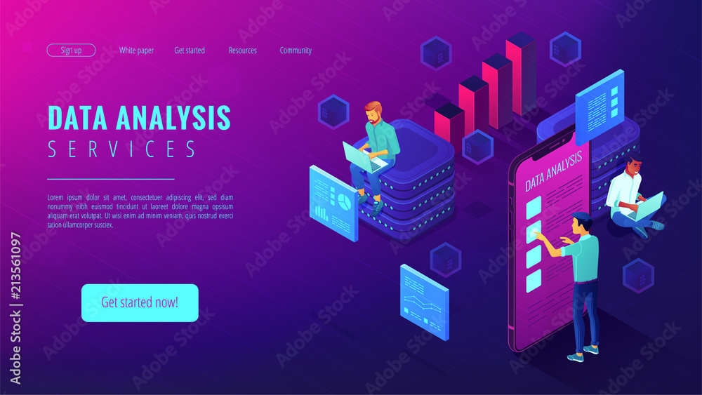 Fototapeta Data analysis services landing page. Isometric IT team working on different analytics services around charts and graphics. Big data analysis concept . Vector 3d illustration on ultraviolet background.