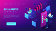 Data analysis services landing page. Isometric IT team working on different analytics services around charts and graphics. Big data analysis concept . Vector 3d illustration on ultraviolet background.