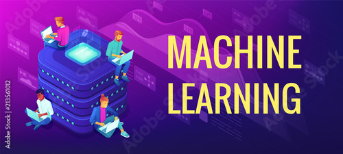 Photographie Isometric machine learning concept