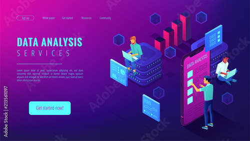 Obraz Data analysis services landing page. Isometric IT team working on different analytics services around charts and graphics. Big data analysis concept . Vector 3d illustration on ultraviolet background. - fototapety do salonu