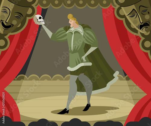 Obraz na plátně hamlet performance with skull