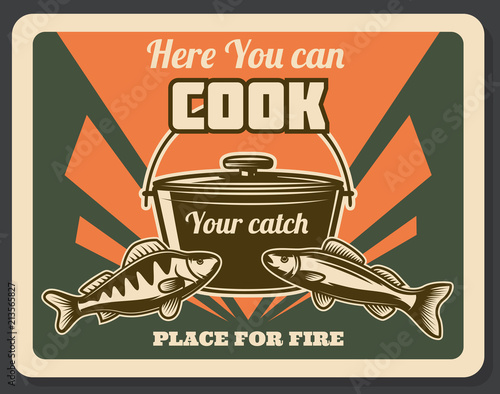 Retro fishing poster place for cook catch vector © Vector Tradition