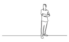 Continuous Line Drawing Of Standing Man With Crossed Arms