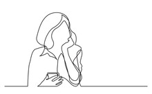 Continuous Line Drawing Of Thinking Woman Holding Cell Phone