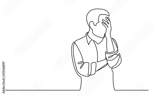continuous line drawing of upset man in trouble Fototapete
