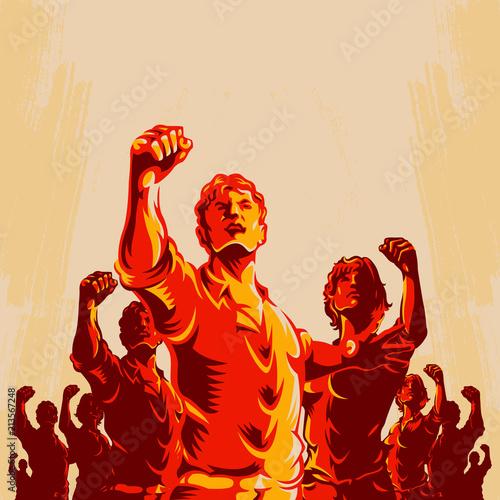 Fotografia Crowd protest fist revolution poster design