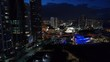 Miami above night drone video city lights