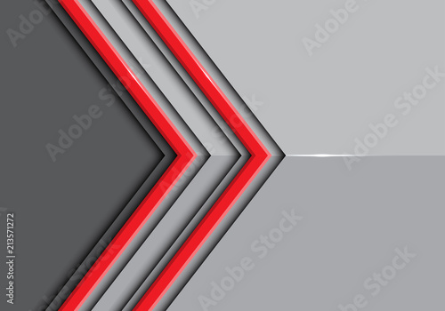 Fotografía  Abstract double red line arrow on gray glossy design modern futuristic background vector illustration