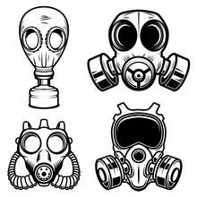 Set Of Gas Masks Isolated On W...