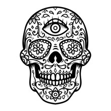 Sugar Skull Isolated On White Background. Day Of The Dead. Dia De Los Muertos. Design Element For Poster, Card, Banner, Print.