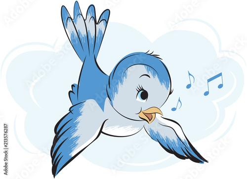 Retro Cartoon Singing Bluebird Canvas-taulu